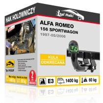 Hak holowniczy Alfa Romeo 156 SPORTWAGON, 1997-05/2006, odkręcany (typ 01053/F)