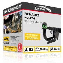 Hak holowniczy Renault KOLEOS, 09/2008-03/2017, wypinany poziomo (typ 31090/C)