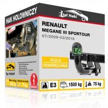 Hak holowniczy Renault MEGANE III SPORTOUR, 07/2009-03/2016, odkręcany (typ 31093/F)