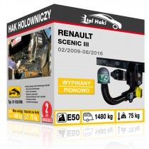 Hak holowniczy Renault SCENIC III, 02/2009-08/2016, wypinany pionowo (typ 31105/VM)