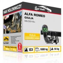 Hak holowniczy Alfa Romeo GIULIA, 06/2016+, odkręcany (typ 01058/F)